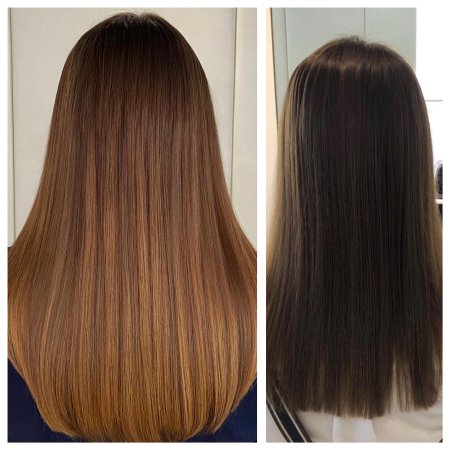 before and after showing hair being extended using the easilocks system at the klinik salon London