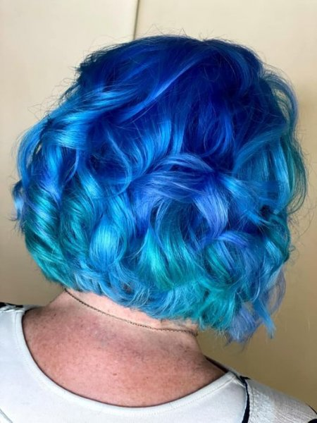 Blue multitones on a short bob cut at the klinik salon London