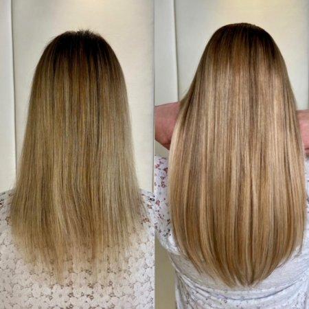 Hair being extended longer using Easilocks system