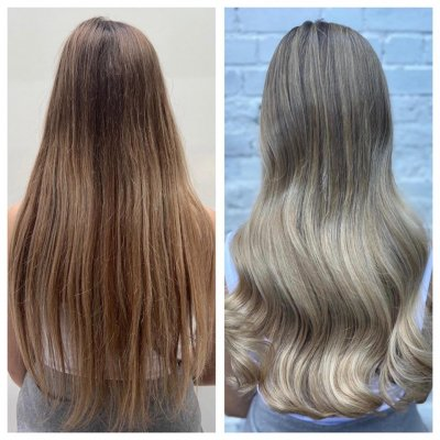 hair colour change from dark blond to a soft ash balayage done by Leyla at the klinik salon