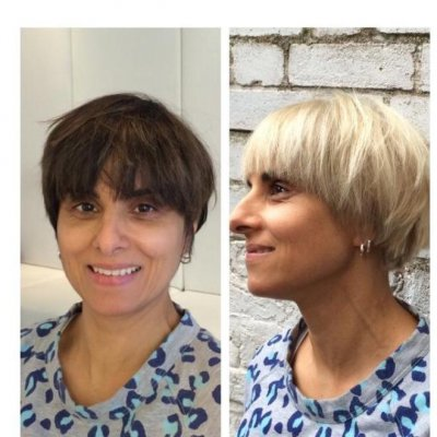 Colour correction from dark to iceblonde in one session, a fantastic colour.