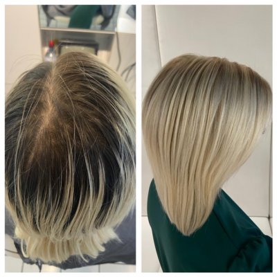 Three inches of roots prelightened and toned by Leyla at the klinik hairdressing London