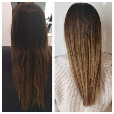 Balayage before and after done by Corina at the klinik salon