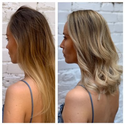 Before and after with a girl with long hair in a blue dress, ending up with a shoulder length blonde hairstyle done by Anna at the klinik salon London