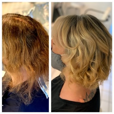Lady with copper to changed blonde at the klinik salon London