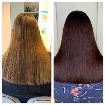 Girl with blonde hair getting a colour change to a chocolate browncolour at the klinik salon London Exmouth Market done by Anna