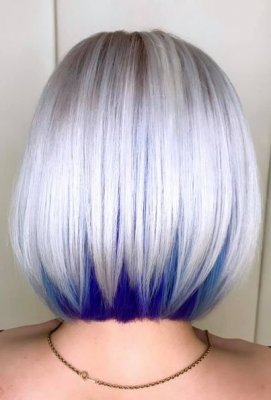 White bob with a blue hidden under colour at the back