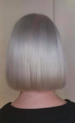 Icy white coloured bob done by Corina at the klinik hairsalon London