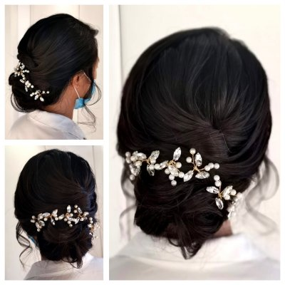 Dark hair done up in a loose tousled bun with hair jewellery at the back by Corina at the klink salon