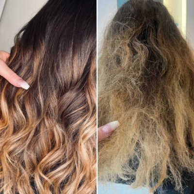 Before and after using Olaplex 4-in-1 hair treatment