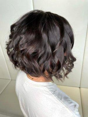 Short brown hair bob waved using GHD irons at the klinik salon