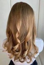 Blonde curly hair