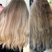 before and after colouring a grey hair at the klinik salon London